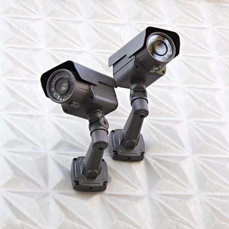 video surveillance camera on a wall of the building