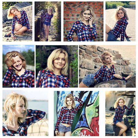 jolie fille: ensemble de Portrait de jeune belle fille blonde sensuelle