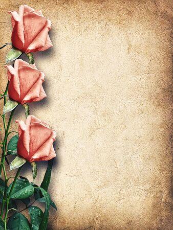 Tarjeta de la vendimia para la enhorabuena con las rosas rosadas