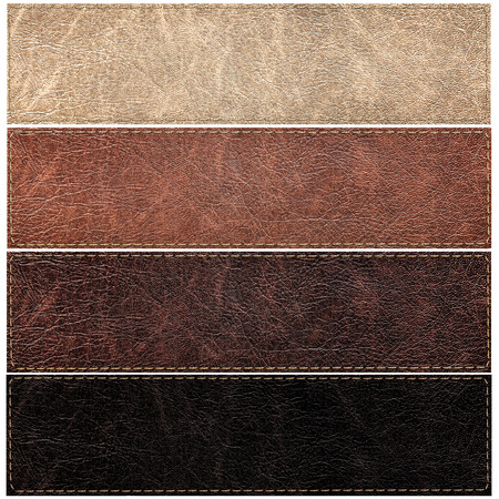 suede: set of leather labels of different colors