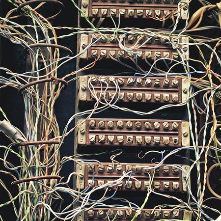 switchboard: old telephone switchboard  closeup