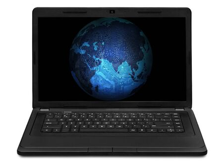 laptop screen: Electronic Earth on laptop screen Stock Photo