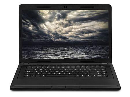 gale: stormy sea landscape on laptop screen
