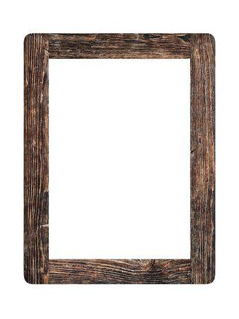 Marco de fotos de madera vintage antiguo simple aislado sobre fondo blanco.