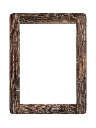 Simple old vintage wooden picture frame isolated on white background
