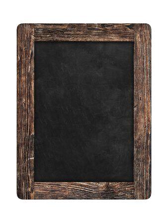 Pizarra en marco de madera antiguo aislado sobre fondo blanco.