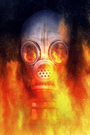 Person in a gas mask in a flame of fire