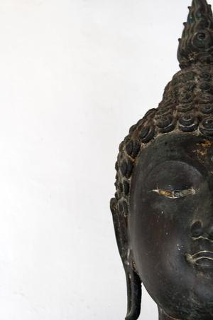 spirituell: half Face Golden buddha black Stock Photo
