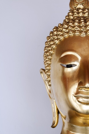 half Face Golden buddha Stock Photo