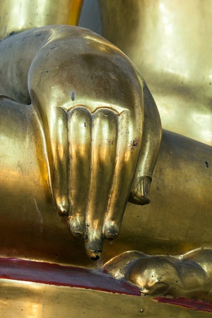 Hand golden of the Buddha Stock Photo
