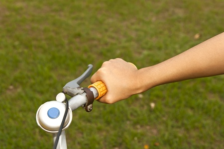 handle orange bicycle and blue bell photo