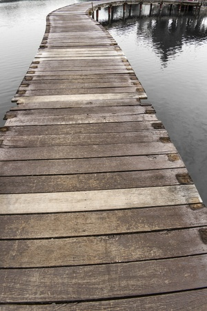 wooden bridge on black water