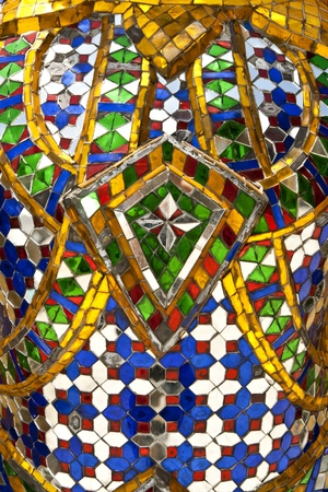 Colorful glass pieces were decorated in the skin of the giant in wat phar kaew