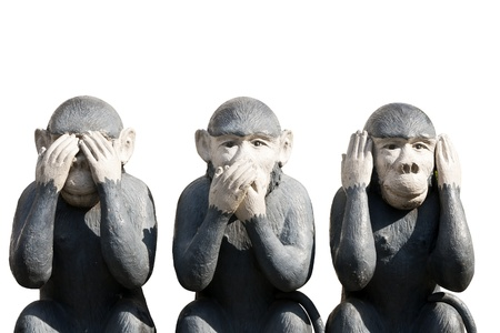 manner: Three monkeys carved in the manner that they do not hear voices and see