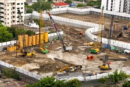 Construction in Bangkok in view of the high or bird eye view photo