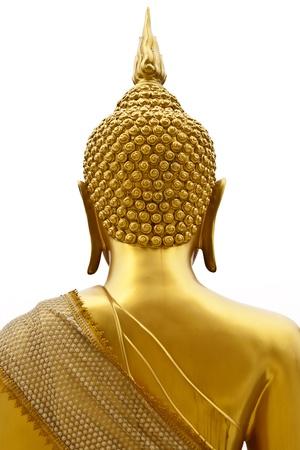Buddha back on white background