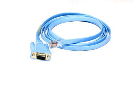 A  cable with connectors pc to console switch for manage Stock Photo