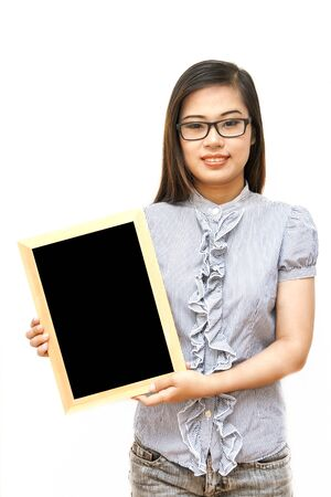 Portrait glass young woman holding a black billboard wood over white background Stock Photo - 13653228