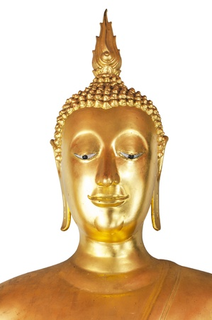 Golden buddha head smile in thailand  photo