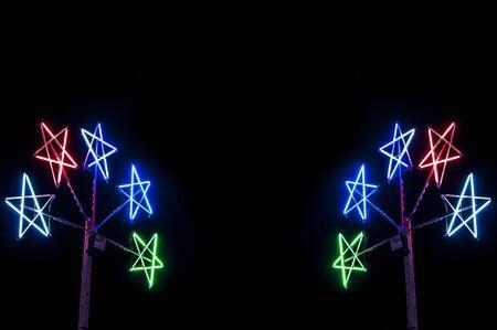 Fluorescent multi color in festival night .