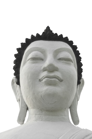 aukana buddha: White buddha head isolated on white background  Stock Photo