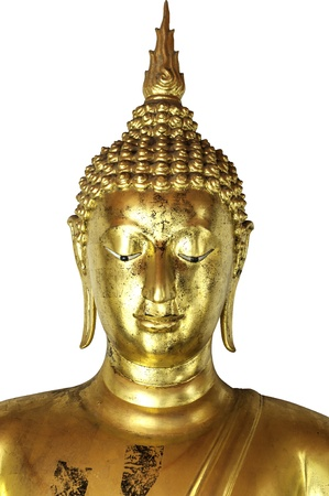 Golden buddha head isolated on white background  Stock Photo