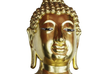 aukana buddha: Golden buddha head isolated on white background  Stock Photo