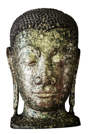 aukana buddha: Old Golden buddha head isolated on white background