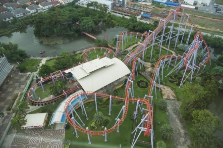 Roller Coaster in bird eye view