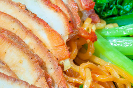 Chinese egg noodles with red pork
