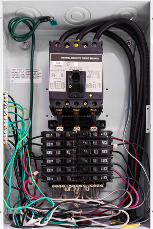 Electricity circuit breakers (fuse box) . Stock Photo