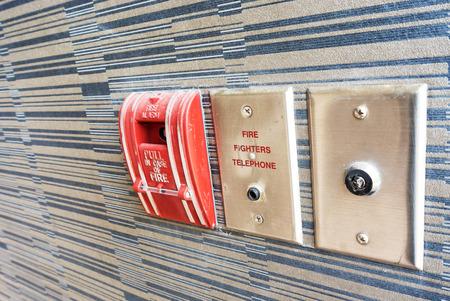 Fire Alarm near door fire . photo
