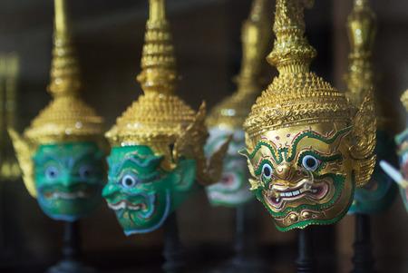 Row of Khon Mask in Bangkok,Thailand . photo