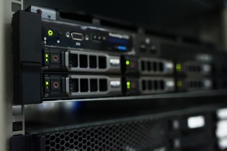 Network servers in data room . Stock Photo