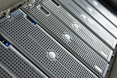 server farm: Network servers in data room . Stock Photo