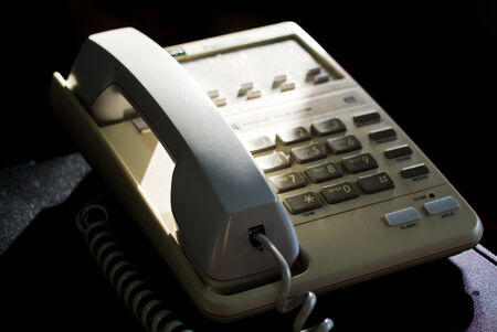 using voice: Still life Vintage TelePhone in soft light . Stock Photo