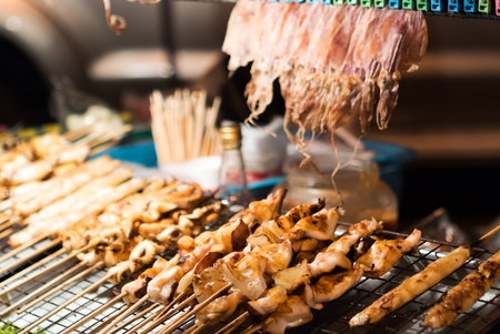 broiling: BBQ Squid on a Stick .