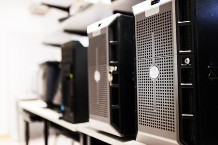 Network servers in data room . Archivio Fotografico