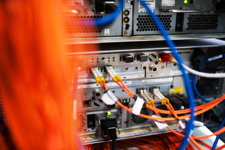 fiber optic with servers in a technology data center . Editorial