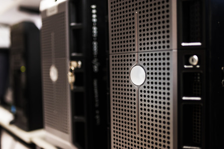 technology security: Network servers in data room . Stock Photo