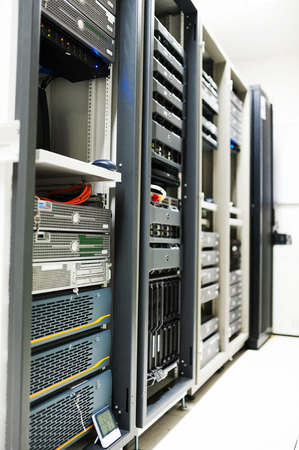 Network servers in data room . Stock Photo
