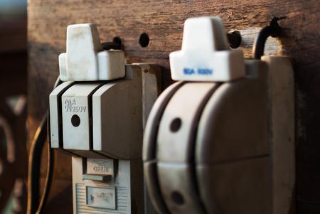 fuse box: Electricity circuit breakers (fuse box) . Stock Photo