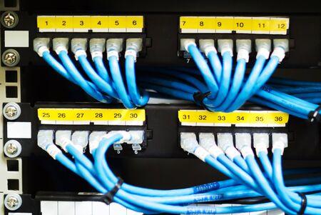 telecommunications equipment: Network hub cable lan Close up .