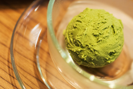ice cream soft: An Green Tea Ice Cream soft light . Stock Photo