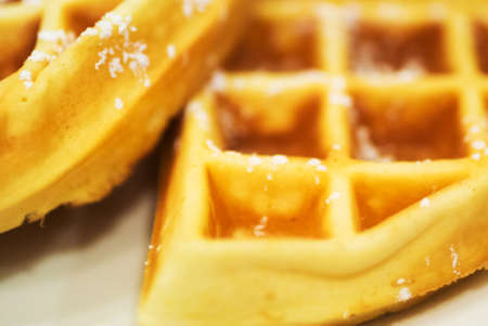 caramel sauce: waffles withstawberry and caramel sauce . Stock Photo