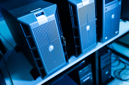 computer center: Computer Network servers in data room .