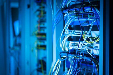 Network hub cable lan Close up . photo