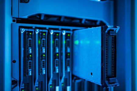 data center data centre: Network servers in data room . Stock Photo