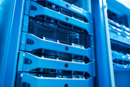 cloud industry: Network servers in data room . Stock Photo