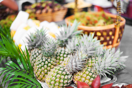healthful: An pineapple is nature  fruit in soft light . Stock Photo
